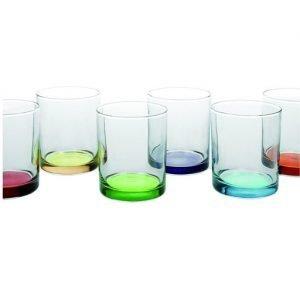 Confezione 6 bicchieri colorati realizzati in vetro dei seguenti colori: verde, giallo, blu, celeste,rosso, viola. Bicchieri perfetti per la tua tavola di ogni giorno, robusti e versatili senza rinunciare all'originalità delle forme. Lavabili in lavastoviglie.
