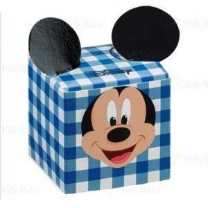 Disney bomboniera portaconfetti Topolino fantasia a quadri di colore bianchi e celesti. Ideale per battesimi, compleanno e nascita bimbo