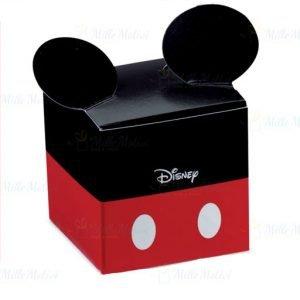 Scatola portaconfetti Topolino Disney con orecchie in cartoncino rosso e nero decorato. Le orecchie fuoriescono dalla scatolina portaconfetti