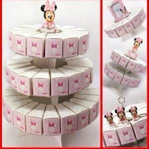 Torta bomboniera minnie a 17, 31 o 53 fette. Fettine di torta portaconfetti Disney Minnie rosa. Ideale per battesimi, compleanno e nascita bimba