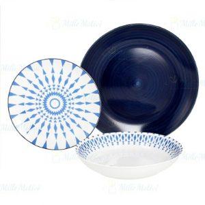 Servizio di piatti Metropolis Tognana realizzati in porcellana e ceramica con decori di colore blu. Servizio composto da 18 pezzi: 6 piatti piani (diametro 27 cm), 6 piatti fondi (20.50 cm), 6 piatti dessert (20.30 cm). Utilizzabili in microonde, lavabili in lavastoviglie.