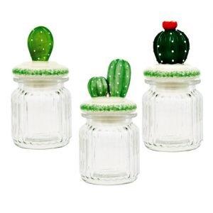 Barattolo in vetro con tappo cactus in porcellana. Accessorio Cucina in vetro rigato, assortito in tre modelli come dimostrato in foto.