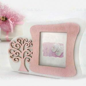 Portafoto albero della vita rosa realizzata in legno