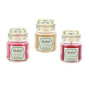 Candela profumata bomboniera assortita in tre fragranze: vaniglia fragola e papaya rosa