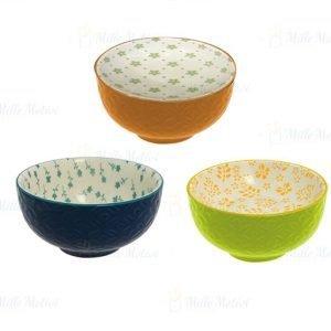 Ciotole da cucina colorate realizzate in ceramica. Decorate e assortite in tre modelli come visualizzato in foto. Queste belle ciotole doneranno un tocco di vivacità alla vostra tavola.