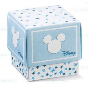 Scatola portaconfetti Topolino Disney forma quadrata realizzata da un fondo bianco ed un coperchio colorato e stelline.