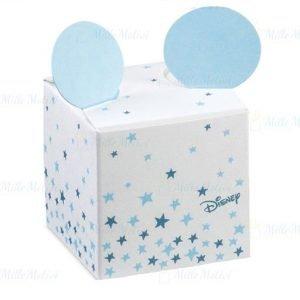 Scatolina Disney con orecchie Topolino in cartoncino celeste e bianco decorato con stelline e divertenti orecchie Topolino azzurre che fuoriescono dalla scatolina portaconfetti.