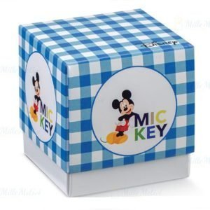 Scatola portaconfetti Topolino Disney celeste realizzata da un fondo bianco ed un coperchio colorato a quadri bianco e celesti, con la stampa di Tolopino su ciascun fronte.