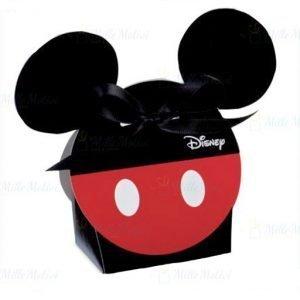 Scatola portaconfetti Disney con orecchie Topolino in cartoncino rosso e nero decorato e divertenti orecchie di Topolino che fuoriescono dalla scatolina di forma tonda.