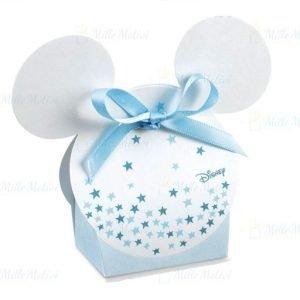 Scatolina portaconfetti topolino disney realizzata da un fondo bianco ed un coperchio colorato e stelline. Colore bianco e celeste.