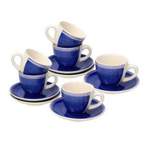Tazzine da caffè Tognana realizzati in ceramica blu scuro. Questo meraviglioso set è composto da 6 tazzine da caffè, 6 piattini per tazzine