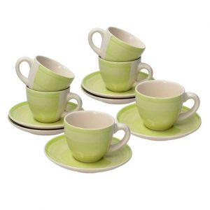 """La confezione di tazze caffè con piatto della linea Milk&Coffee Reggae è composta da 6 tazze e 6 piattini. E' un set da tavola del marchio """"Progetto Tognana"""" in ceramica multicolor."""