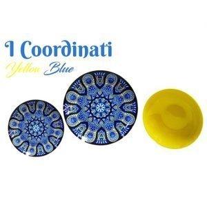 Servizio piatti colorati Coordinati realizzati in porcellana. Ogni piatto del servizio è speciale nei colori e nei suoi motivi che diventano veicoli di sapori intensi