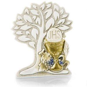 Bomboniera albero della vita comunione stilizzato in resina decorata a mano con argento. L'albero della vita ha un bellissimo significato di amore vita e famiglia, sarà apprezzato dai tuoi invitati.