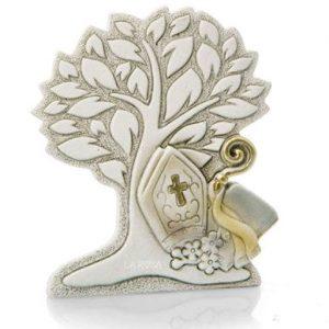 Bomboniera albero della vita cresima stilizzato in resina decorata a mano con argento