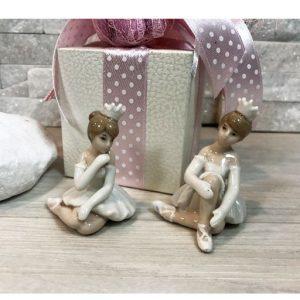Bomboniera ballerina principessa, eleganti statuette in porcellana ideali per realizzare bomboniere battesimo, comunione femminuccia.