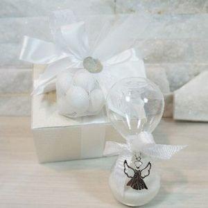 Bomboniera Clessidra realizzata in vetro soffiato, con applicazione Angelo. Ideale per essere utilizzata per eventi: Comunione, Cresima.