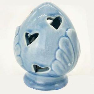 Bomboniera pumo realizzato in fine ceramica celeste