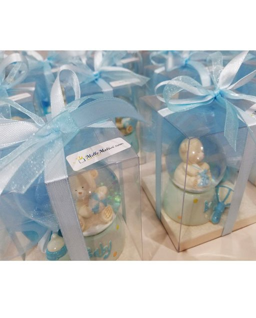 Bomboniera battesimo bimbo orsetto palla di neve di vetro con neveglitterata