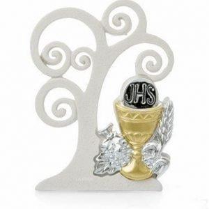 Bomboniera icona con albero della vita comunione stilizzato in resina decorata a mano con argento. L'albero della vita ha un bellissimo significato di amore vita e famiglia, sarà apprezzato dai tuoi invitati.