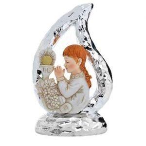 Bomboniera icona comunione, icona goccia bambina in preghiera argentata.