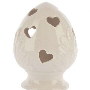 Bomboniera pumo bianco realizzato in fine ceramica con led