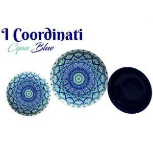 Servizio piatti geometrici Coordinati realizzati in porcellana. Ogni piatto del servizio è speciale nei colori e nei suoi motivi che diventano veicoli di sapori intensi