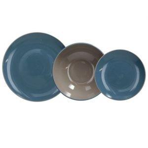 Servizio tavola 18 pezzi Velvet Avio in ceramica blu e grigia. Ogni piatto ha un design raffinato e unico, adattabile a qualsiasi tipo di arredamento grazie ai suoi colori neutri. Utilizzabili in microonde, lavabili in lavastoviglie.