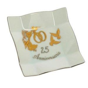 Bomboniera svuotatasche rettangolare argento 25 anniversario. Una scelta originale, per creare bomboniere nozze d'argento.