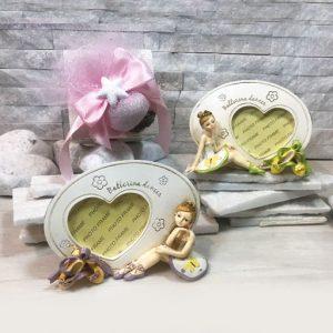 Portafoto ballerina, elegante bomboniera realizzata in resina ideali per realizzare anche bomboniere battesimo femminuccia.