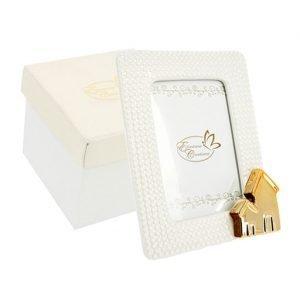 Bomboniera portafoto Home Gold realizzato in ceramica. Ideale per lasciare un ricordo indelebile nei vostri invitati. Ideale per bomboniera Matrimonio.