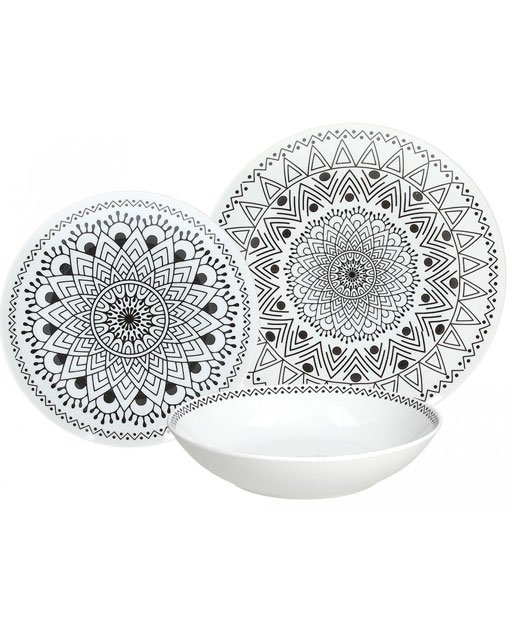 Servizio tavola 18 pezzi Tribal Chic in porcellana super white