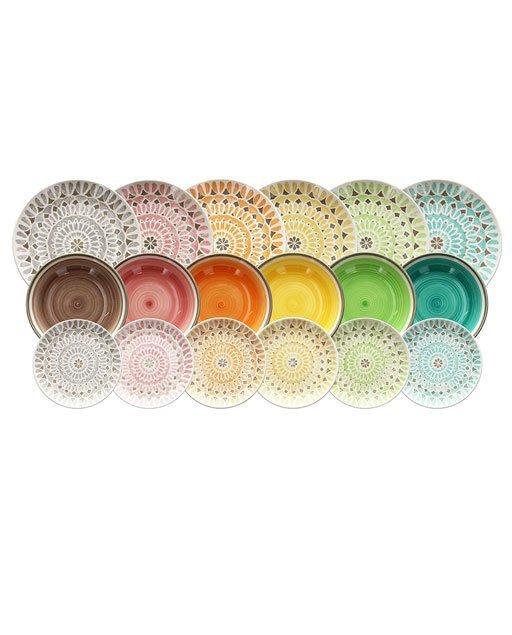 Servizio 18 pezzi Cape Town è un esplosione di colori e fantasie, decori trendy per una tavola d'impatto. Utilizzabili in microonde, lavabili in lavastoviglie.
