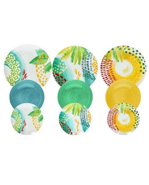 Servizio piatti Sunny realizzati in porcellana e ceramica con decori estivi e vivaci.