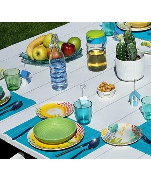 Servizio piatti Sunny realizzati in porcellana e ceramica con decori estivi e vivaci
