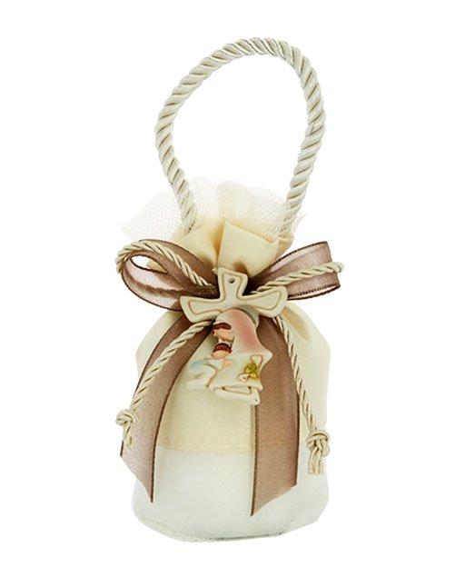 Sacchettino battesimo color panna mini borsetta base tonda. Adatto per nascita, battesimo. Scegli di ricevere il sacchettino completo di confetti.