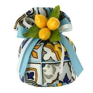 sacchetto portaconfetti matrimonio con limoni tema sicilia