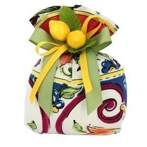 Sacchetto portaconfetti tema sicilia con limoni