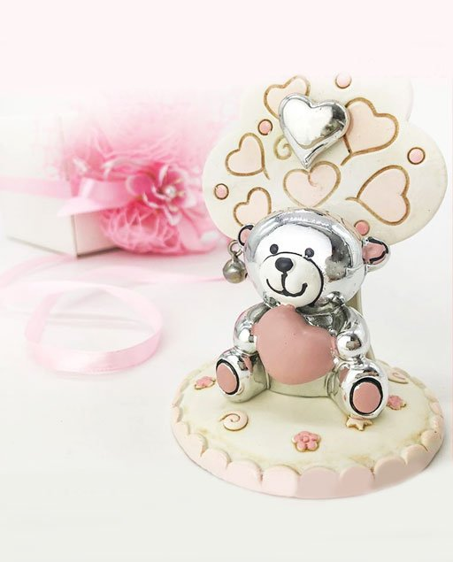 Bomboniera orsetto battesimo rosa e argento lucido