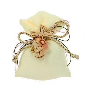 Sacchettino nascita color panna busta crep. Adatto per nascita, battesimo. Scegli di ricevere il sacchettino completo di confetti.