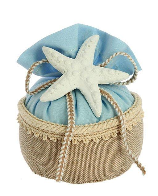 sacchetto portaconfetti in juta tema mare con stella marina