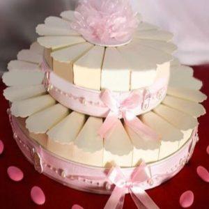 Torta portaconfetti rosa, realizzata in cartoncino rigido celeste. Le fette porta confetti sono tutte di colore rosa, mentre la struttura è decorata con fantasia.