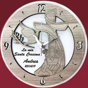 Orologio cresima in legno bianco e tortora personalizzabile