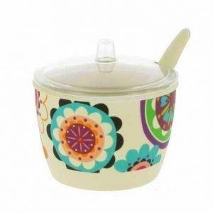 Bomboniera Zuccheriera con cucchiaino realizzata in fibra di bamboo decorata con fantasia a fiori.
