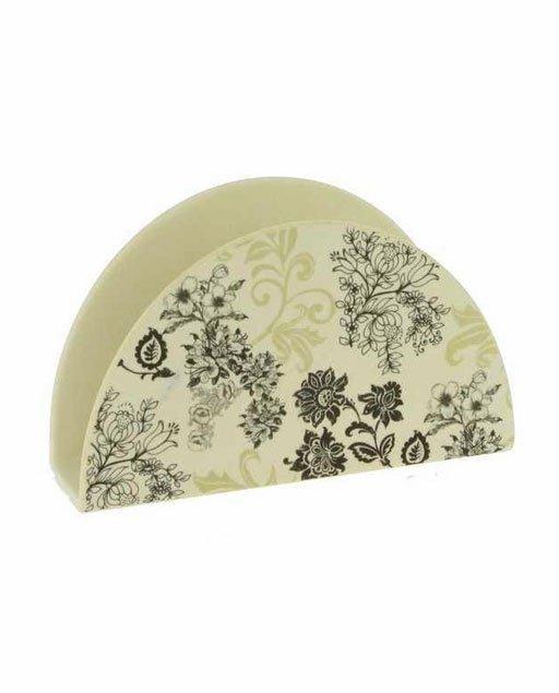 Bomboniera Portatovaglioli Handeel realizzato in fibra di bamboo decorata con fantasia a fiori floreali.