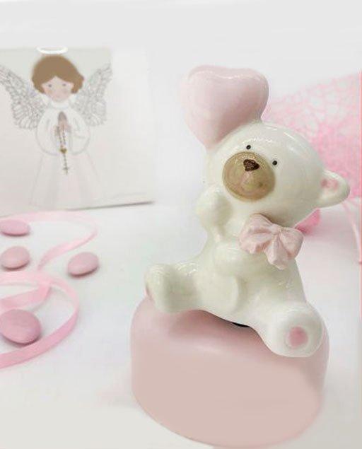 Bomboniera orsetto carillon rosa ruota l'orsetto in senso orario produrrà una dolce ninna nanna