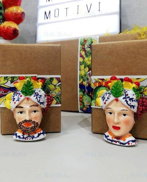 Bomboniera testa di moro magnete disponibile nella versione uomo e donna.