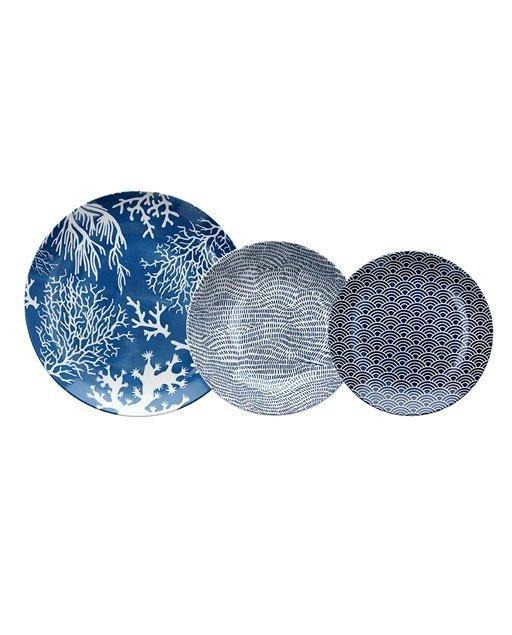Servizio piatti Sciacca in fine porcellana di colore blu, con decori bianchi, di forme astratte e differenti per ogni tipologia di piatto