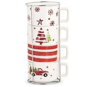Set 4 tazze Natalizie, realizzate tutti in pura porcellana. Graziosa idea regalo o per addobbare con un pizzico di colore la tua casa per le festività natalizie.