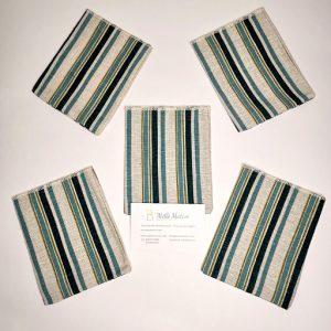 Sacchetto tessuto rigato verde petrolio, ideale per realizzare con semplicità e creatività.